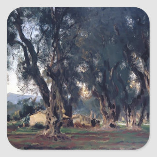 John Singer Sargent- Olive Trees at Corfu Square Stickers