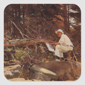 John Singer Sargent- The Artist Sketching Square Stickers