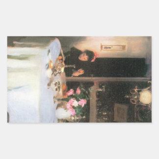John Singer Sargent - The breakfast table Rectangular Sticker