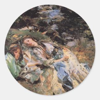 John Singer Sargent- The Brook Round Stickers