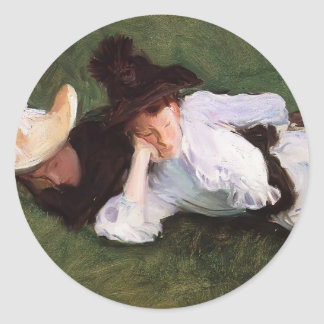 John Singer Sargent- Two Girls Lying on the Grass Stickers
