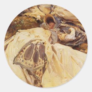 John Singer Sargent- Two White Dresses Round Sticker