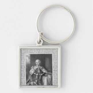 John Stuart, Third Earl of Bute, engraved Silver-Colored Square Key Ring