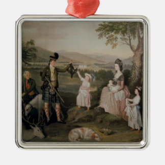 John, the 4th Duke of Atholl and his family Silver-Colored Square Decoration