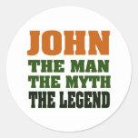 JOHN - the Man, the Myth, the Legend! Round Sticker