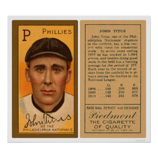 John Titus Phillies Baseball 1911 Print