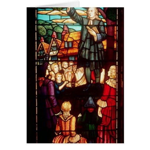 John Wesley  Preaching the Gospels in England Greeting Card