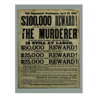 John Wilkes Booth Lincoln murder poster Postcard
