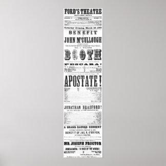 John Wilkes Booth Playbill Poster