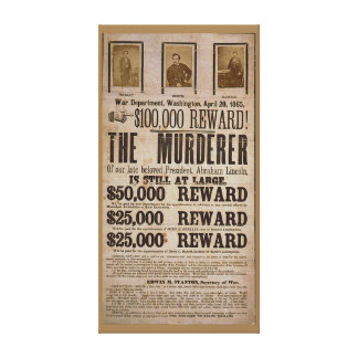 John Wilkes Booth Wanted poster Abe lincoln murder Gallery Wrapped Canvas
