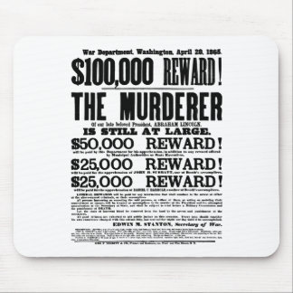 John Wilkes Booth Wanted Poster Mousepad