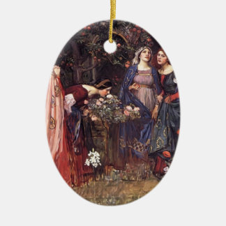 John William Waterhouse- The Enchanted Garden Christmas Ornament