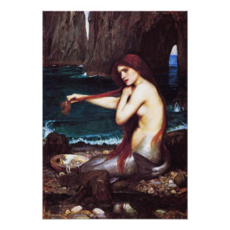 John William Waterhouse Vintage Mermaid Poster