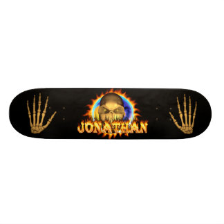 johnathanJonathan skull real fire and flames skate 19.7 Cm Skateboard Deck