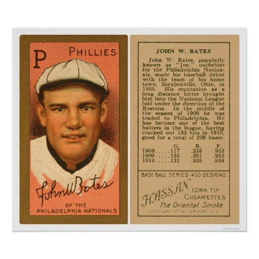 Johnny Bates Phillies Baseball 1911 Print