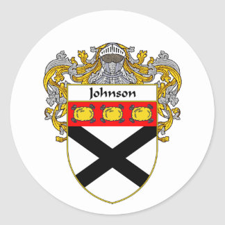 Johnson Coat of Arms (Mantled) Round Stickers
