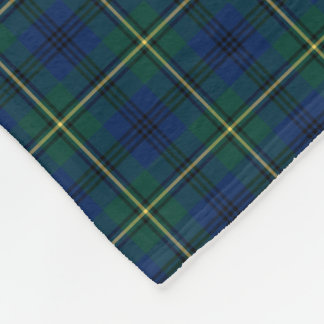Johnston Clan Blue, Green and Yellow Tartan Fleece Blanket