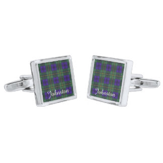 Johnston clan Plaid Scottish tartan Silver Finish Cufflinks