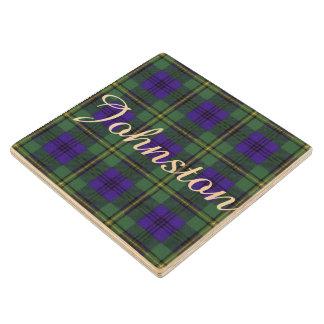 Johnston clan Plaid Scottish tartan Wood Coaster