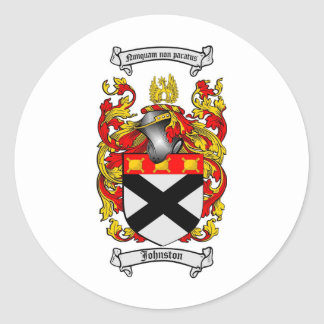 JOHNSTON FAMILY CREST -  JOHNSTON COAT OF ARMS ROUND STICKER