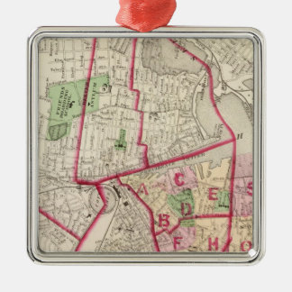 Johnston Rhode Island Map Silver-Colored Square Decoration