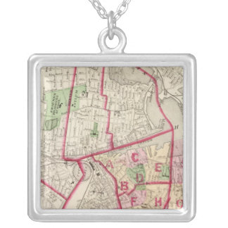 Johnston Rhode Island Map Silver Plated Necklace