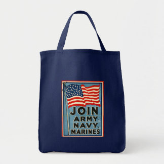 Join Army, Navy, Marines WPA 1917 Tote Bags