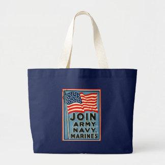 Join Army, Navy, Marines WPA 1917 Jumbo Tote Bag