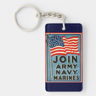 Join Army Navy Marines WPA 1917 Keychains