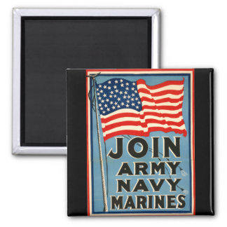 Join Army, Navy, Marines WPA 1917 Refrigerator Magnet