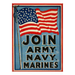 Join Army, Navy, Marines WPA 1917 Poster