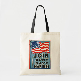 Join Army, Navy, Marines WPA 1917 Budget Tote Bag