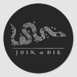 Join, or Die Round Stickers