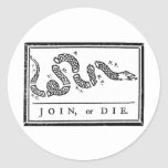 Join Or Die Round Stickers