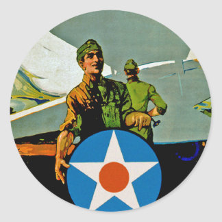 Join The Air Service ~ Give 'Er The Gun Classic Round Sticker