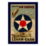 """Join The Air Service """"Learn-Earn"""" (Blue Border) Posters"""