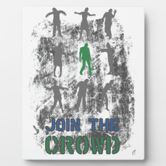 Join The Crowd Zombie Dead Skull Plaque