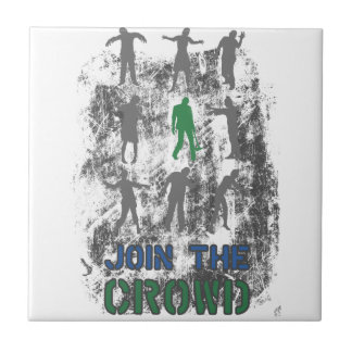 Join The Crowd Zombie Dead Skull Tile