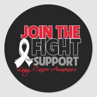 Join The Fight Support Lung Cancer Awareness Round Stickers