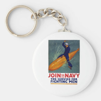 Join The NAVY - Sailor Riding Huge Bomb! Basic Round Button Key Ring