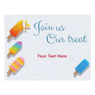 Join Us Our Treat Postcard
