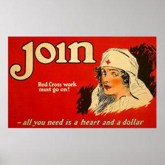 Join ~ Vintage Nurse WW1. Poster