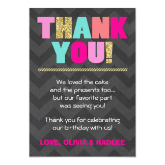 Joint birthday Thank you card Twins Pink Gold Mint 13 Cm X 18 Cm Invitation Card