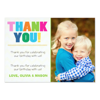 Joint birthday Thank you card Twins Rainbow colors