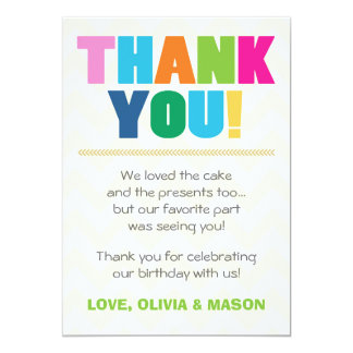 Joint birthday Thank you card Twins Rainbow colors 13 Cm X 18 Cm Invitation Card