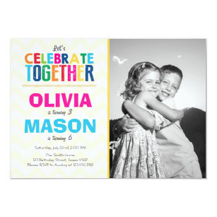 Joint birthday party invitations announcements zazzle joint twin birthday party invitation filmwisefo