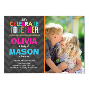 Joint birthday party invitations announcements zazzle joint twin birthday party invitation boy girl filmwisefo