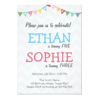 Joint twin birthday party invitation chevron