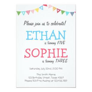 joint birthday invitations zazzle uk