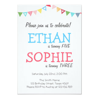 Joint twin birthday party invitation girl and boy